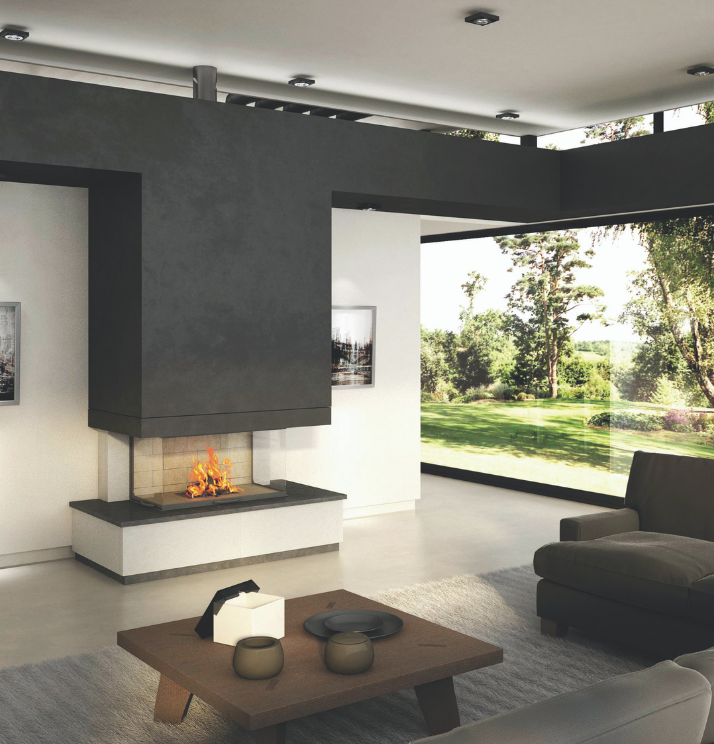 Axis H1200 3V Three sided fireplace - Sculpt Fireplace Collection Australia & New Zealand