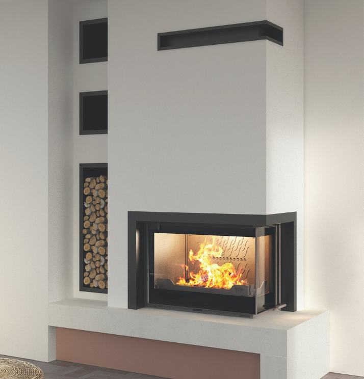 Seguin Europa 7 VL Cheminee Fireplace Two sided, black glass & swing door - Sculpt Fireplace Collection Australia & New Zealand