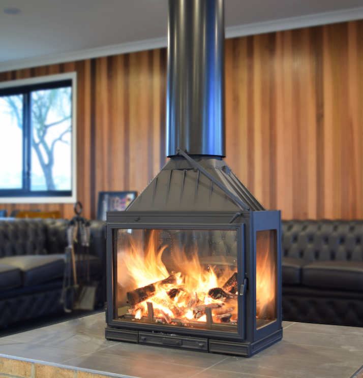 Seguin Multivision 8000 Cheminee Fireplace Australia's first four sided wood heater - Sculpt Fireplace Collection Australia & New Zealand