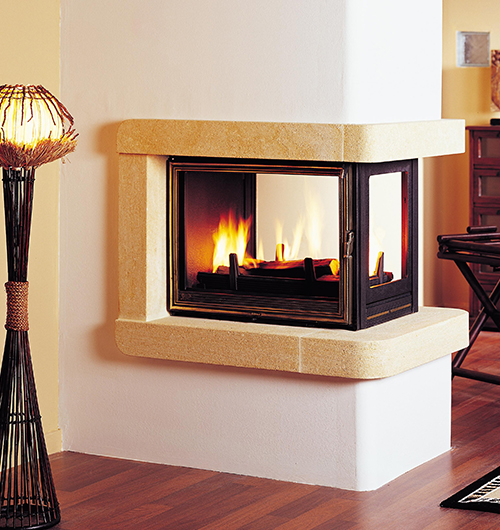 Multivision wood fireplaces french designer suspended for Four sided fireplace